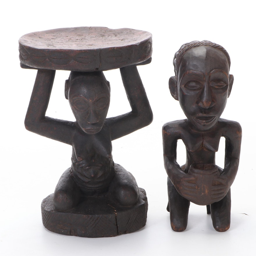Luba Stool and Offering Figure, Democratic Republic of the Congo