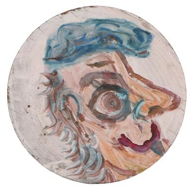 Robert Wright Folk Art Portrait Acrylic Painting