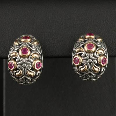Samuel Benham Sterling Ruby Earrings