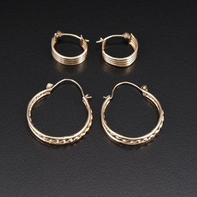 14K Huggie and Hoop Earrings Selection Featuring Fluted and Rope Designs