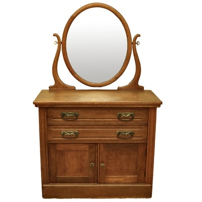 Late Victorian Oak Vanity Dressing Table, Late 19th Century