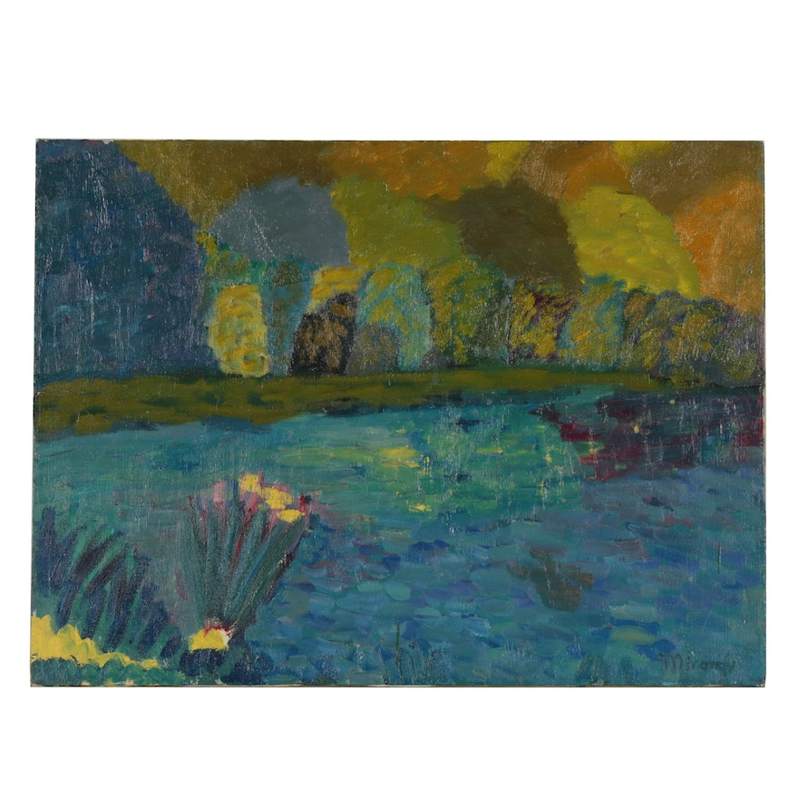 Jerald Mironov Oil Painting of Autumnal Waterscape, Late 20th Century