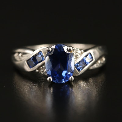 Sterling Silver Sapphire and Diamond Twist Shank Ring