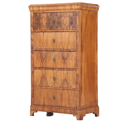 Louis Philippe Figured Walnut Chest of Drawers, Mid-19th Century