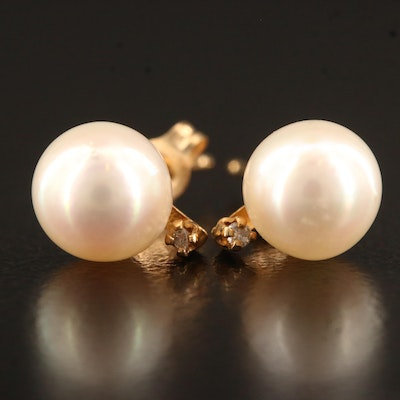 14K Pearl and Sapphire Stud Earrings