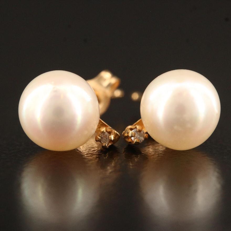 14K Pearl and Sapphire Stud Earrings