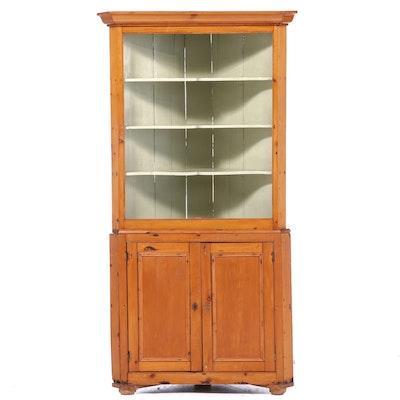 American Primitive Parcel-Painted Pine Corner Cupboard, 19th Century