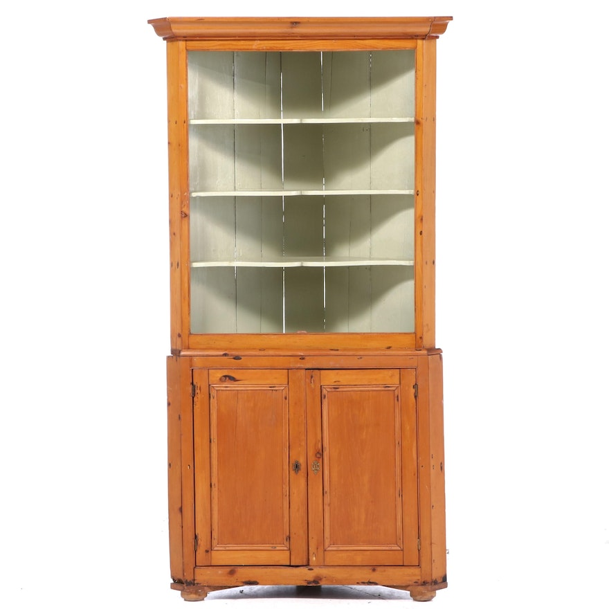American Primitive Parcel-Painted Pine Corner Cupboard, 19th Century