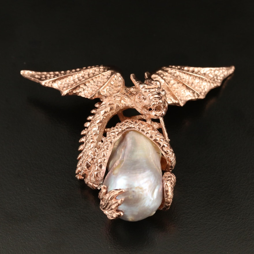 Sterling Silver Pearl Dragon Slide Pendant
