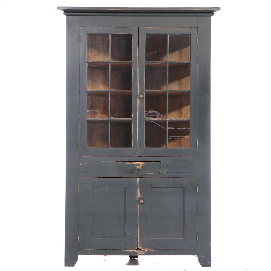 Large American Primitive Painted Corner Cupboard, 19th Century