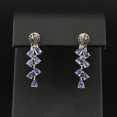 Sterling Silver Tanzanite and Cubic Zirconia Floral Waterfall Earrings
