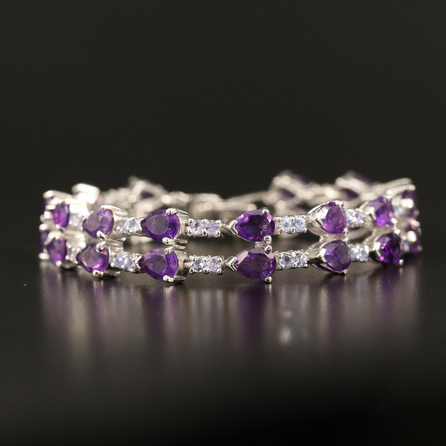Sterling Silver Amethyst and Tanzanite Bracelet