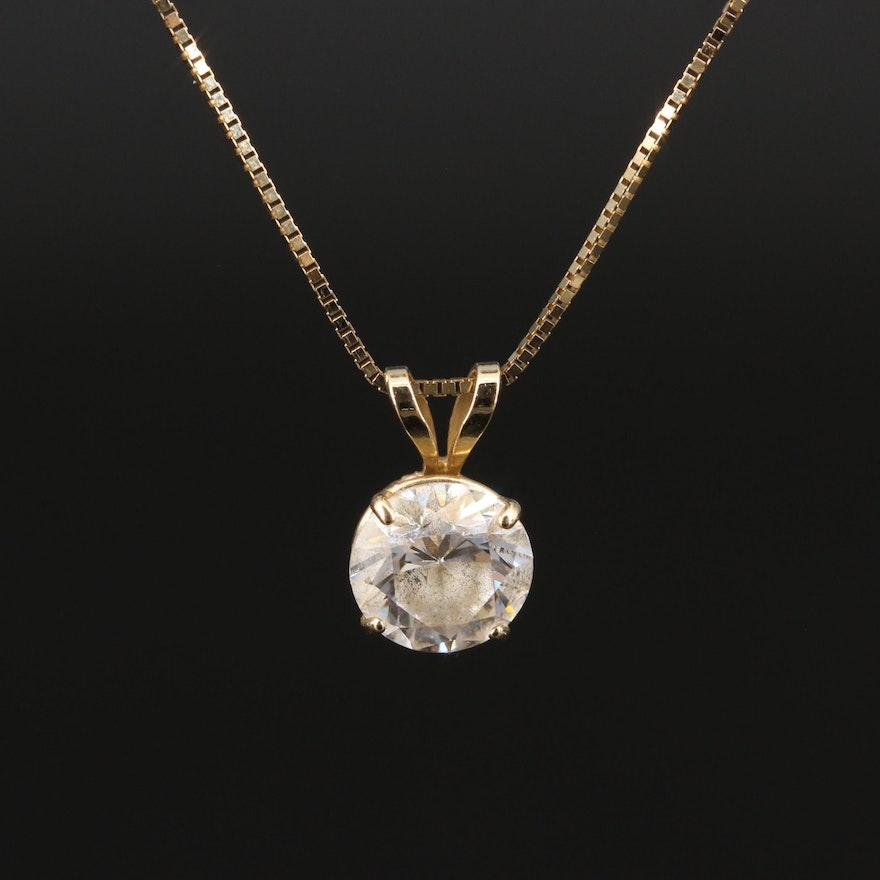 14K Solitaire Cubic Zirconia Pendant Necklace