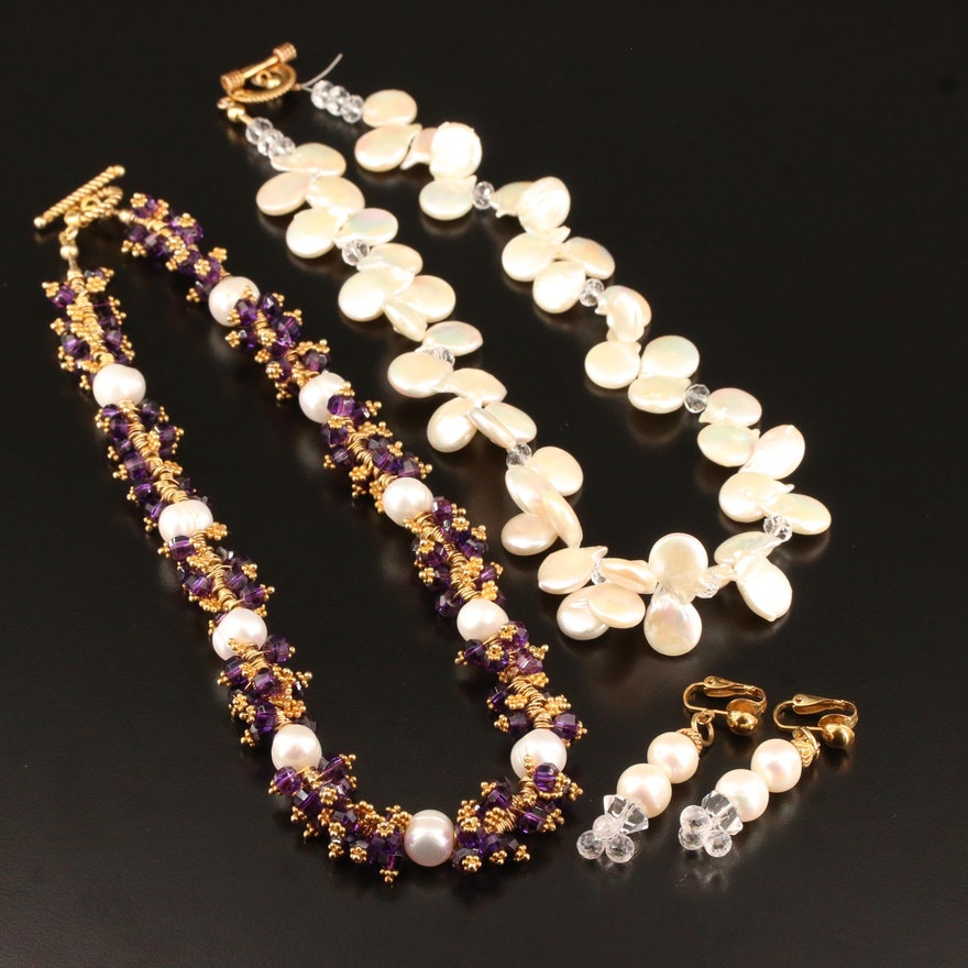 Sterling Jewelry Including Pearl and Glass Necklaces and Dangle Earrings