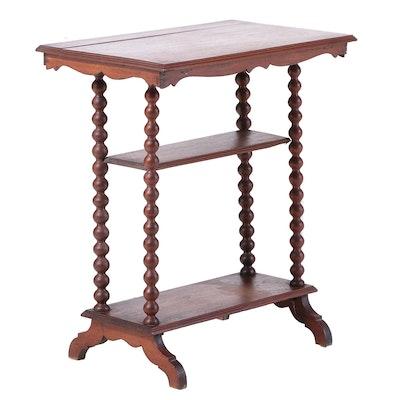 Victorian Bobbin-Turned Walnut Side Table, Late 19th Century