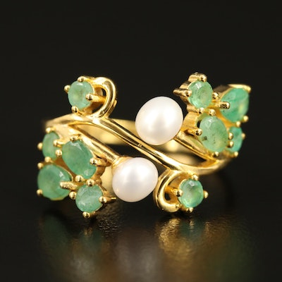 Sterling Silver Emerald and Pearl Ring