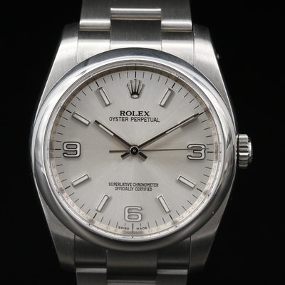2010 Rolex Oyster Perpetual Stainless Steel Automatic Wristwatch