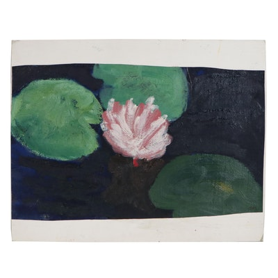 Jerald Mironov Oil Painting of Waterlilies, Late 20th Century