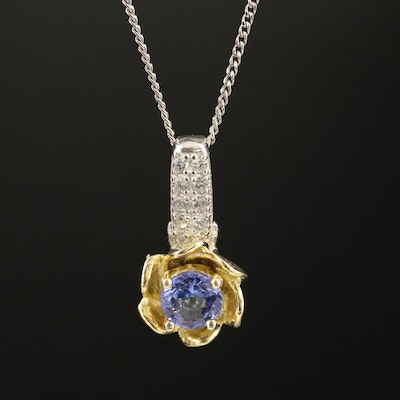 Sterling Tanzanite and Cubic Zirconia Pendant Necklace