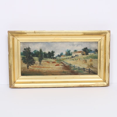 Pastoral Landscape Oil Painting with Cows and Farmhouse, 20th Century