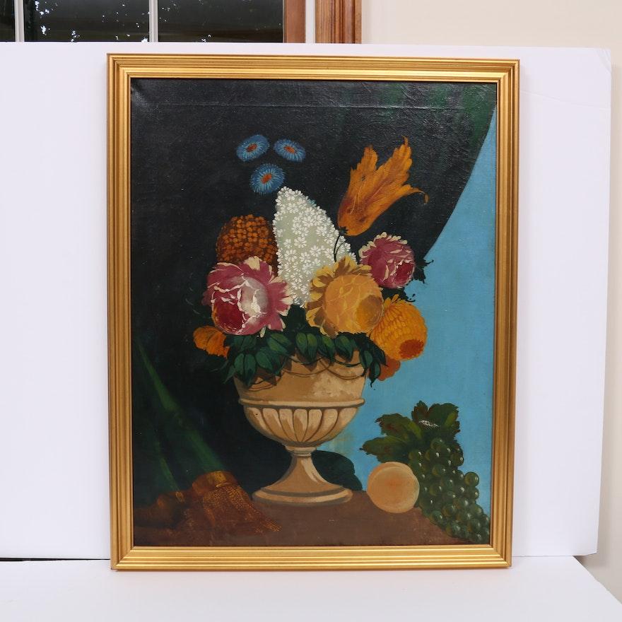 Naïve Floral Style Still Life Acrylic Painting