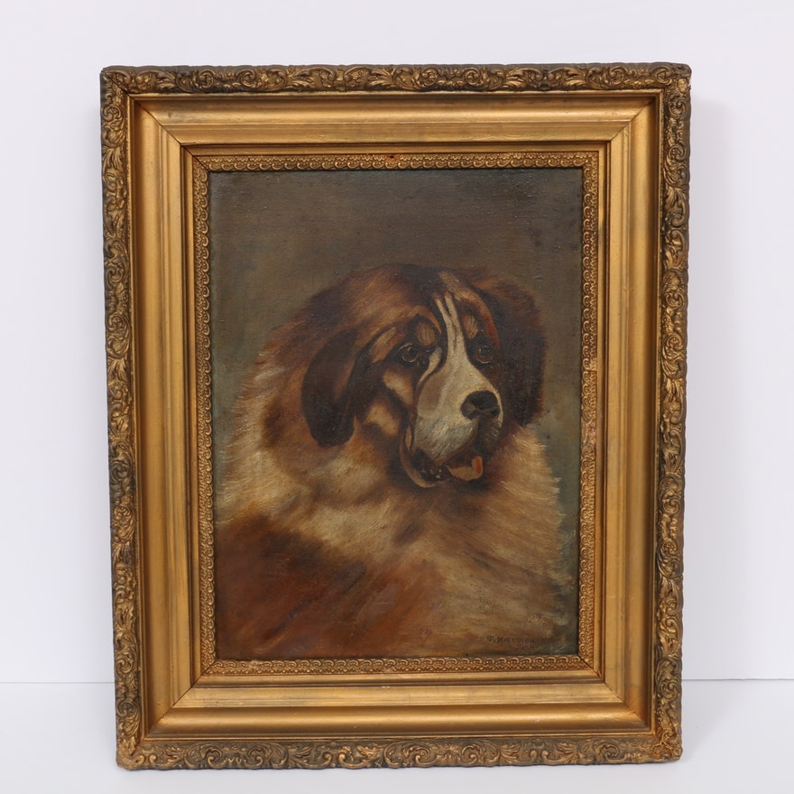 Canine Oil Portrait of Saint Bernard, Early 20th Century