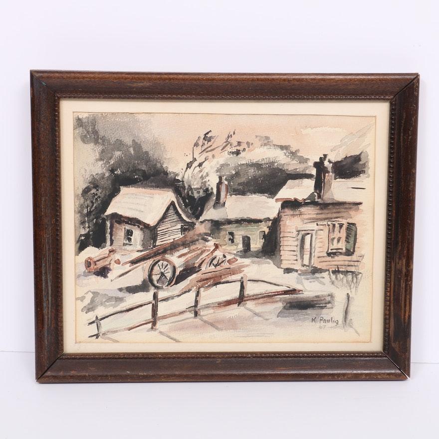 K. Paulig Landscape Watercolor Painting