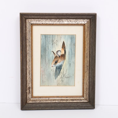 George Stum Watercolor Painting of Mouse