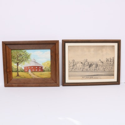Oil Painting and Lithograph of Nut Wood Farm