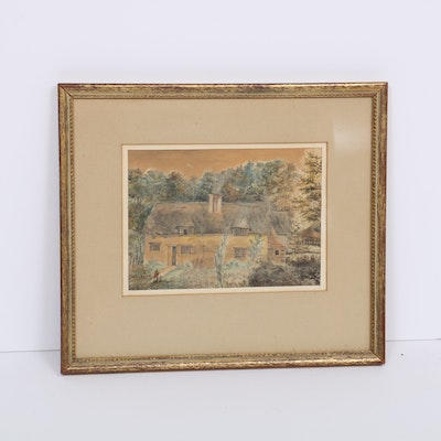 English Cottage Watercolor and Ink Painting