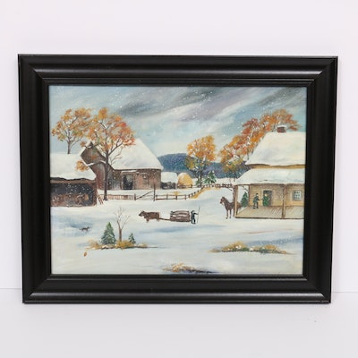 Acrylic Painting of a Winter Farm Scene