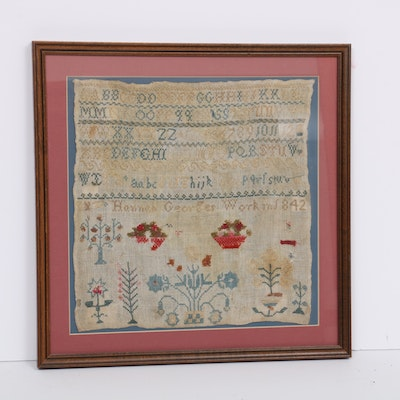 Hannah George Needlepoint Sampler, 1842