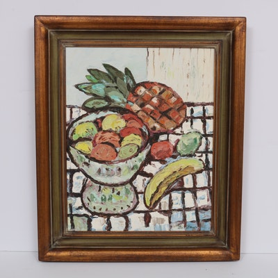 "Lee Glaser Abstract Still Life Oil Painting ""Flowers with Fruit"""