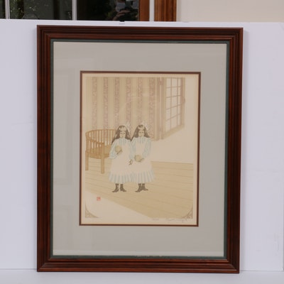 Elizabeth Schippert Lithograph of Interior with Children