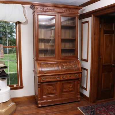 Victorian, Eastlake Style Walnut and Burl Walnut Cylinder Roll Secretary Desk