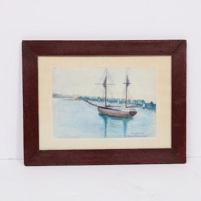 """American School Watercolor Painting """"Harbor Springs"""", 1908"""