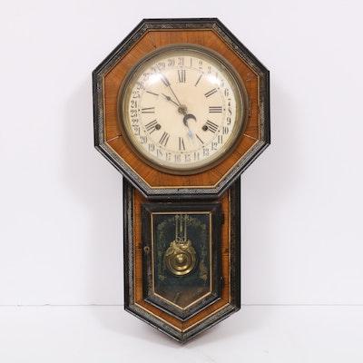 "Pony Express System ""Circa 1900"" Regulator Wall Clock, Antique"