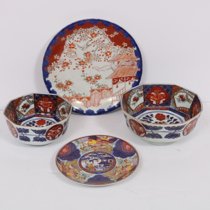 Japanese Porcelain Imari Bowls and Plates, Mid to Late 20th Century