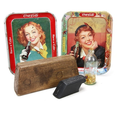 Coca-Cola Tin Lithograph Serving Trays, International Soft Drink Bottle, More