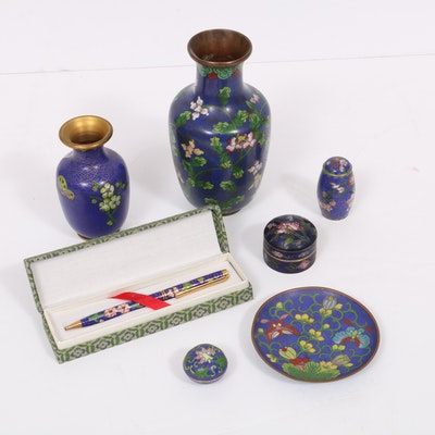 Chinese Blue Cloisonné Vases and Accessories