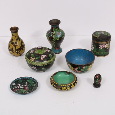 Chinese Cloisonné Vases and Other Decorative Table Accessories, Early-Mid 20th C