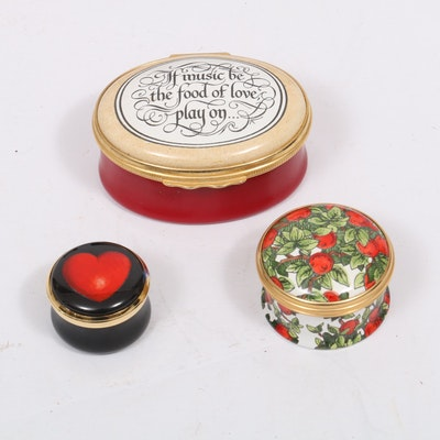 Halcyon Days Enamel Boxes Including Tiffany Design with Presentation Cases