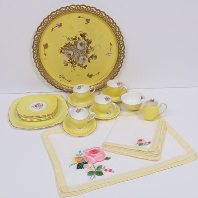 Royal Grafton Yellow Bone China Luncheon Service with Other Serving Tray