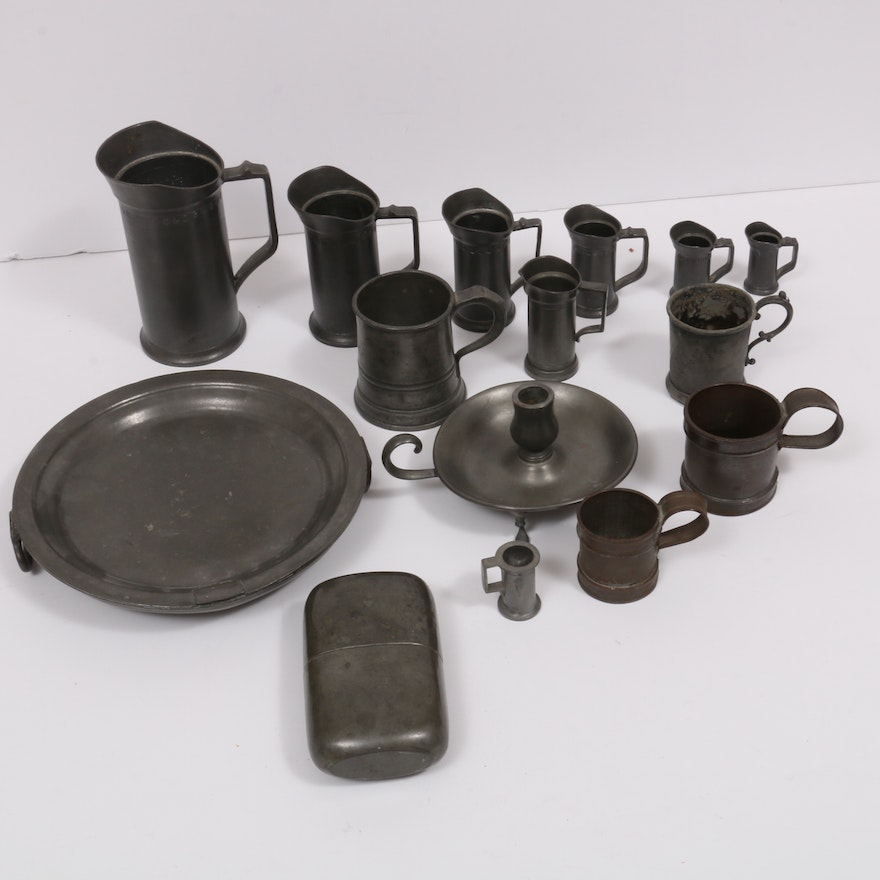Pewter Flask, Cups, and Plate, 19th-20th Century