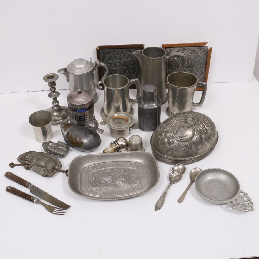 Victorian Pewter Jelly Mold and Other Pewter and Metal Tableware