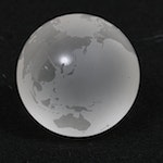 Tiffany & Co. Etched Crystal Globe Paperweight