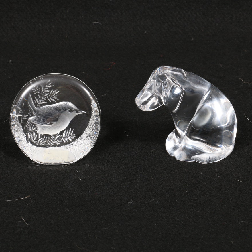 Mats Jonasson Songbird Crystal and Atlantis Glass Hound Dog Paperweights