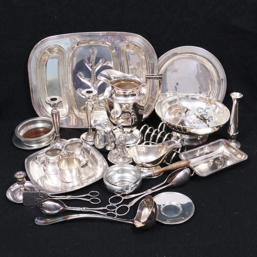Wilcox and Other Silver Plate and Polished Pewter Serveware