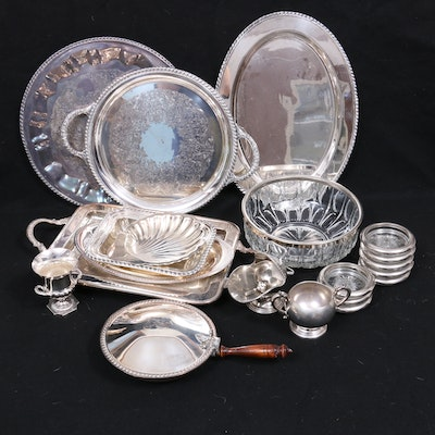 Continental Silver Plate and Glass Serveware with Table Accessories