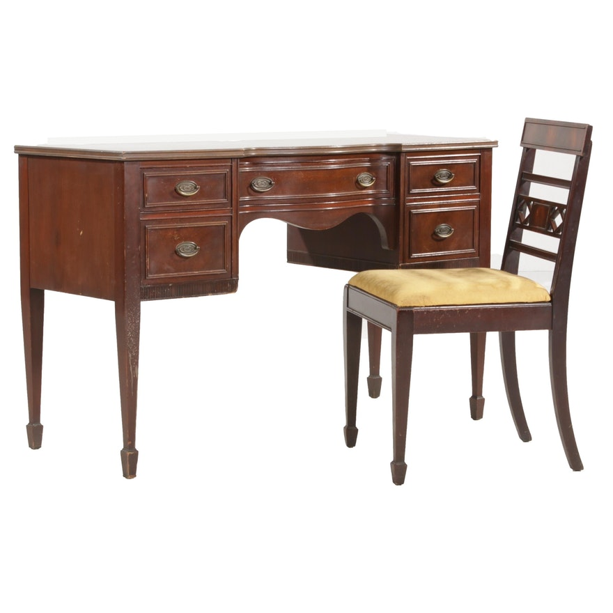 Federal Style Walnut Vanity Desk and Chair, Early to Mid 20th Century